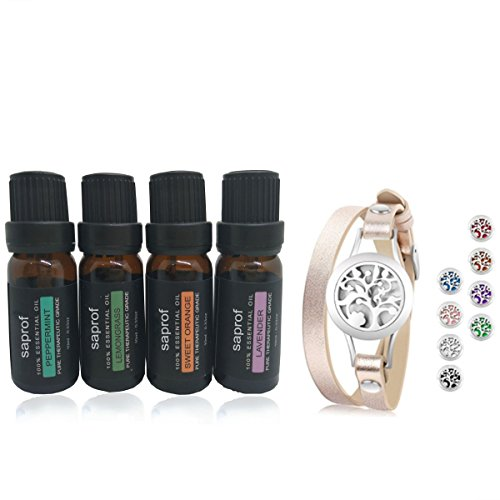 Bag Dog Gift Spa (Saprof 100% Pure Aromatherapy 4 Bottles10ml each Essential Oils Bracelets Gift Set (Lavender, Grapefruit,Lemongrass, Sweet Orange))