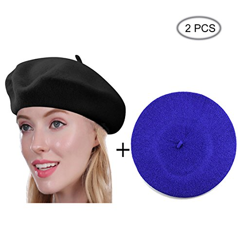 French Style Black Wool Hat - Beret Hat of French Vintage Style, Solid Color Hat 15colors, Elegant Soft Stretch Wool Cap, Lightweight Classic Boinas Winter Beanie-Black/Royal Blue