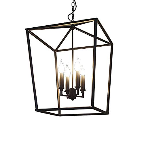 JINGUO Lighting 4 Lights Foyer Pendant with Lantern Style Cage Fram Chandelier Hanging Lamp Antique Black Fixture Candle Chandeliers in Vintage Style for Indoor Outdoor
