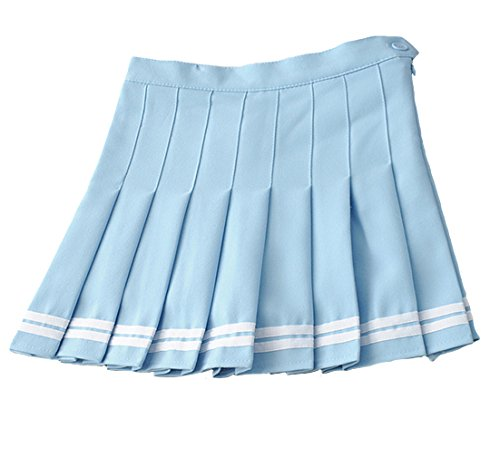 Minuoyi Sports High Waist with Underpants Tennis Badminton Cheerleader Pleated Skirt (Tag Size S, Sky Blue + White - Pleated Sexy Blue Skirt