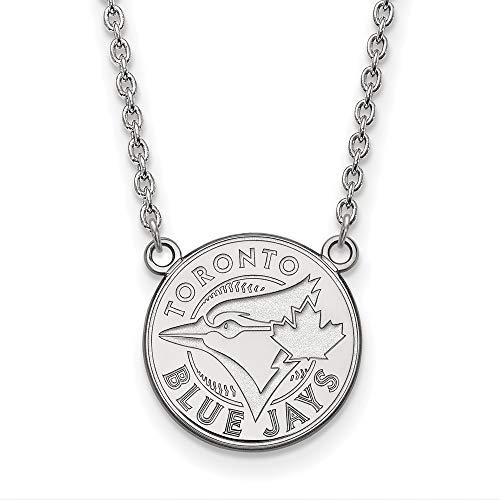 (MLB Toronto Blue Jays Sterling Silver MLB LogoArt Toronto Blue Jays Large Pendant with Necklace Size One Size)