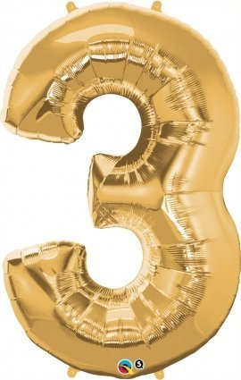 Gold Number Number Number 3 Foil Balloon - 36 Inch by Qualatex 28d4f6