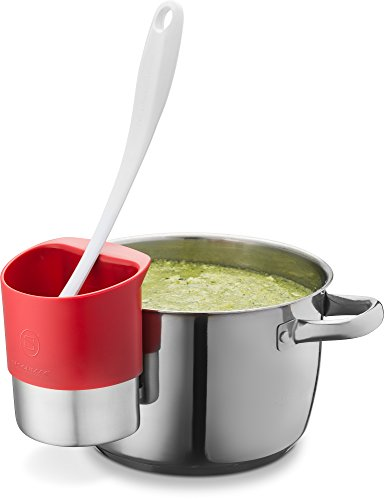 Spoon rest Stainless Steel Spoon Dock for Utensils - This Cup Hangs on Saucepans and Pots for Preparing and Serving Food Without Creating a Mess - Use as a Measuring Cup, Mix, & Pouring … (Red) by Belwares