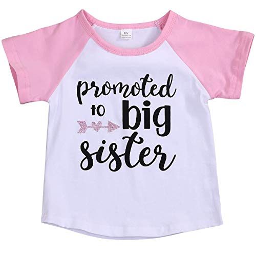 LYSMuch Toddler Baby Girls T-Shirt Promoted to Big Sister Letters Print Short Sleeve Blouse (Pink Short Sleeves, 2-3 Years Old)