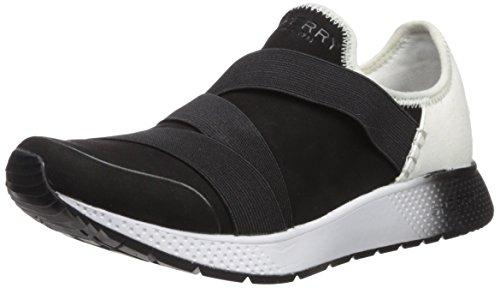 SPERRY Women's Seven Seas Trysail Sneaker, Black/White, 10 Medium US (Size Womans Sperrys 10)