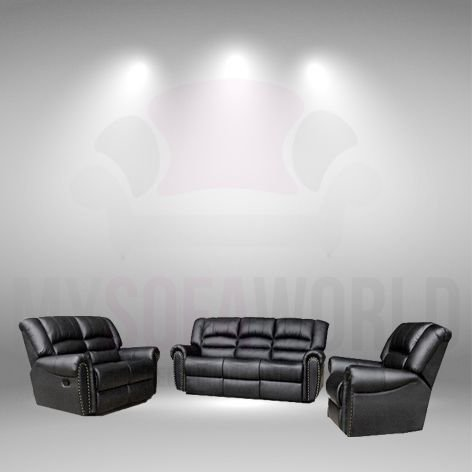 My Sofa World ROSETTI Premium Lujo Negro reclinable 3 + 2 + ...