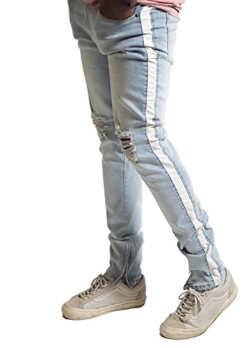 20276b45 K Men's PU Side Stripe Destroyed Ankle Zip Skinny Jeans (32, Light  Blue/White)