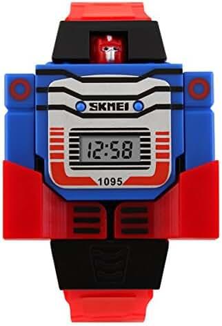 Unisex Cartoon 3D Robot Watches Child's Watche Boys Girls Outdoor Sports Wristwatch- Red