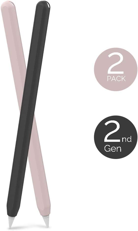 AHASTYLE Ultra Thin Case Silicone Skin Cover Compatible with Apple Pencil 2nd Generation, iPad Pro 11 12.9 inch-2 Pack (Black & Pink)