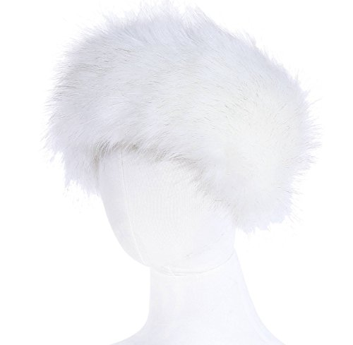 Faux Fur Headband Women's Winter Earwarmer Earmuff(one size,white)