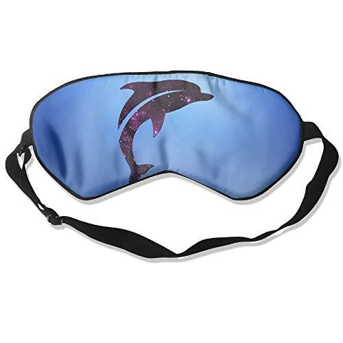 Purple Galaxy Jumping Animal Cute Dolphin 99% Eyeshade Blinders Sleeping Eye Patch Eye Mask Blindfold for Travel Insomnia Meditation