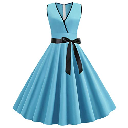 Sunhusing Women's Vintage Solid Color V-Neck Sleeveless Ribbon Lace-Up Waist-Tie Evening Party Gown Dress Blue