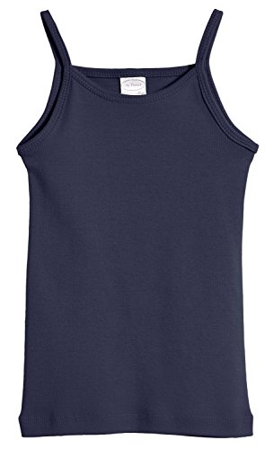 City Threads Big Girls' Cotton Camisole Cami Tank Top T-shirt Tee Tshirt spaghetti Straps Summer Play School Sports Sensitive Skin SPD Sensory Sensitive Clothing - Navy - 10 ()