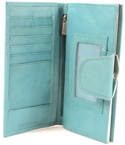 Ladies Soft Nappa Leather Matinee Wallet, Clip Frame Fastening & Popper Closure - Turquoise ()
