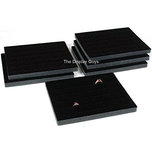 The Display Guys ~ 6pcs Deluxe Black Velvet Ring Foam 36 Slot Jewelry Travel Ring Insert Display Pad (Slot Foam)