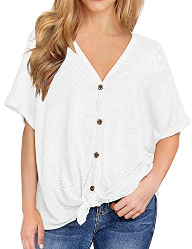(BAISHENGGT Summer Tops for Women, Womens Loose Blouse Short Sleeve V Neck Button Down T Shirts Tie Front Knot Casual Tops (X-Large, Beige))