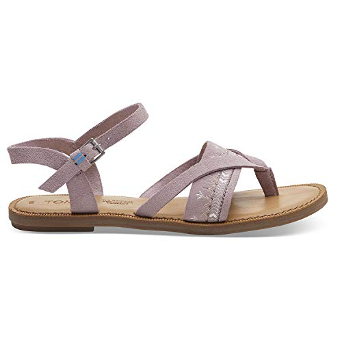 TOMS Burnished Lilac Suede with Embroidered Strap Women's Lexie Sandals (Size: - Slides Lilac