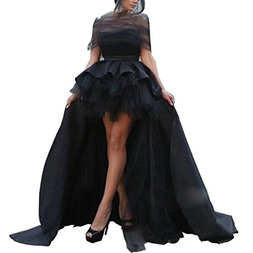 Chady Black High Low Prom Dresses 2017 Ball Gown Sweetheart Ruched Sweet 16 Dresses Gothic Wedding Elegant Evening Gown by Chady