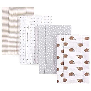Hudson Baby Unisex Baby Cotton Flannel Burp Cloths, Hedgehog, One Size