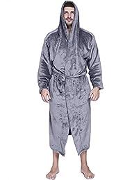 Ekouaer Comfy Robe Men's Fleece Long Hooded Plush Spa/Bathrobe Loungewear