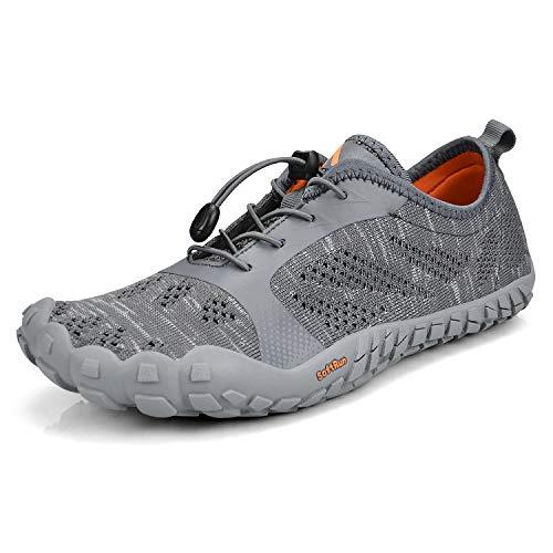 QANSI Mens Trail Running Shoes Mesh Barefoot Quick Drying Water Shoes Athletic Hiking Walking Gym Shoes Gray 9.5