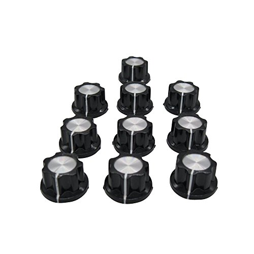 Tone Top Rotary Knobs for 6 mm Dia. Shaft, Potentiometer Switch Knob Top Diameter: 19mm Black A02-6mm ()