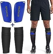 AvoDovA Football Shin Guards with Sleeves, Football Shin Pads, Shin Pad Socks with Pocket for Football Games B