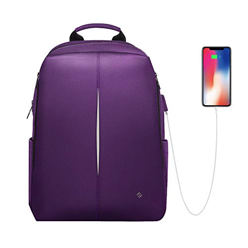 Laptop Backpack, Casual Daypack with USB Port for Travel School Work, Purple