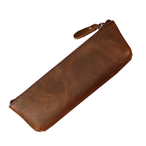 Saibang Vintage Style Pen Pouch, Handmade GenuineLeather Stationery Pencil Pen Case for Students Professionals and Artists by SAIBANG