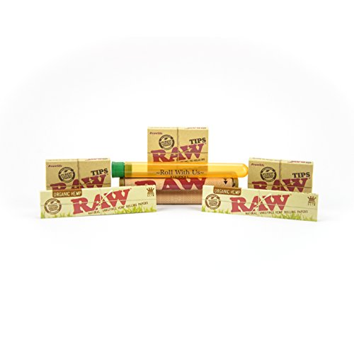 RAW Organic King Size Rolling Papers Combo Includes: 2 Packs of RAW Organic King Size Slim Rolling Papers, 3 Boxes RAW Pre Rolled Tips, RAW 110MM Rolling Machine and Roll with Us Doobtube