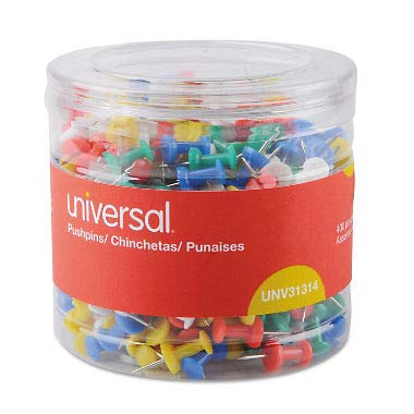 Universal 31314 Colored Push Pins, Plastic, Assorted, 3/8