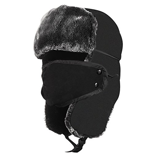 Unisex Winter Trooper Trapper Hat Hunting Russian Hat Ear Flap With Windproof Mask