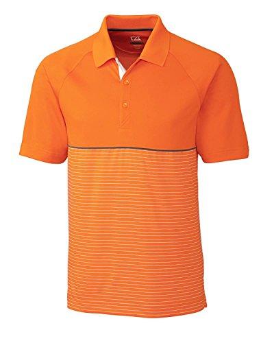 Cutter & Buck Mens Junction Stripe Hybrid Polo, Orange Burst/White-XXXL