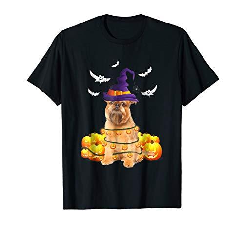 Brussels Griffon Dog Pumpkin Light Up Halloween T-Shirt -