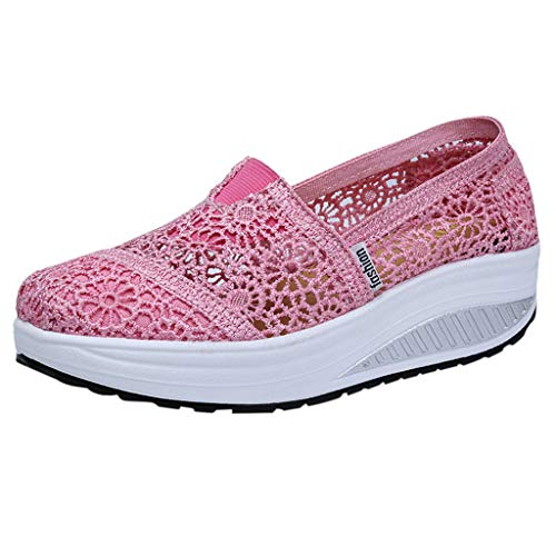 (Respctful✿Casual Wedge Flats for Women Slip On Sneakers Comfort Flats Wedge Shoes Daily Loafers Driving Moccasin Shoes Pink)