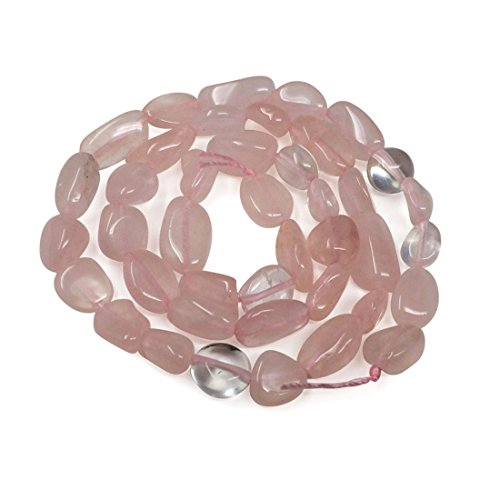 Top Quality Natural Rose Quartz Gemstone Center Drilled Oval Rice Stone Beads 16