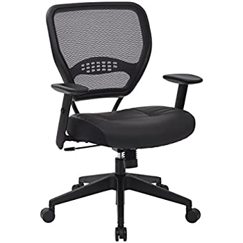SPACE Seating Professional AirGrid Dark Back and Padded Black Eco Leather Seat, 2-to-1 Synchro Tilt Control, Adjustable Arms and Tilt Tension with Nylon Base Managers Chair