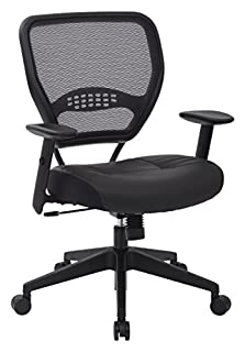SPACE Seating Professional AirGrid Dark Back and Padded Black Eco Leather Seat, 2-to-1 Synchro Tilt Control, Adjustable Arms and Tilt Tension with Nylon Base Managers Chair (B000PWGZOI) | Amazon Products