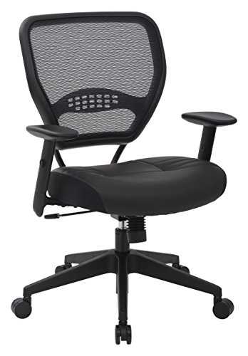SPACE Seating Professional AirGrid Dark Back and Padded Black Eco Leather Seat, 2-to-1 Synchro Tilt Control, Adjustable Arms and Tilt Tension with Nylon Base Managers -