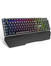 Havit Teclado mecánico Gaming RGB, Interruptores Azules 105 Teclas,14 Modos de luz de Fondo,8 Luces de teclados programable Ajustables,para Windows/XP/Vista/Linux/Mac (Teclados Español, Negro)