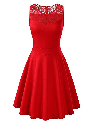 KIRA Women's Sleeveless A-Line Evening Party Lace Cocktail Dress (Small, Red)
