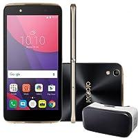 Smartphone Alcatel Idol 4 6055B Preto com Dourado, Tela 5.2, 4G+WiFi, Android 6.0, 13MP, 16GB + Óculos VR
