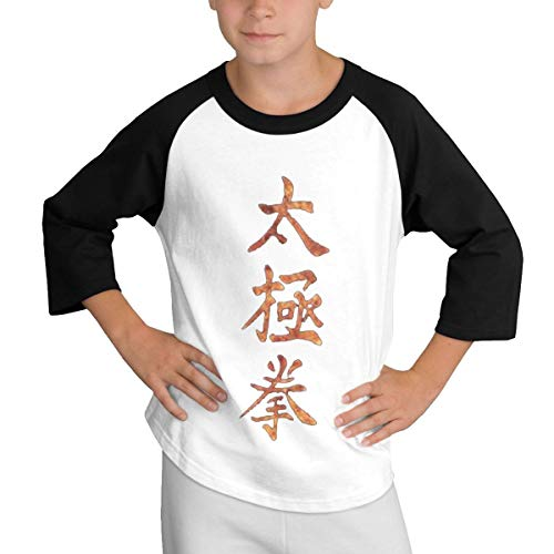 MDClothI Youth Boys&Grils Classic Teen Sleeve Shoulder T Printed with Gold Tai Chi Chuan M