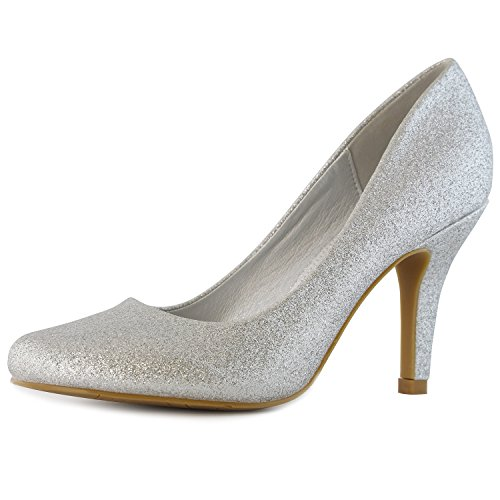 DailyShoes Women's Classic Fashion Round Toe Lily-01 High Heel Dress Pump Shoes, Silver Glitter, 7 B(M) (Glitter High Heel)