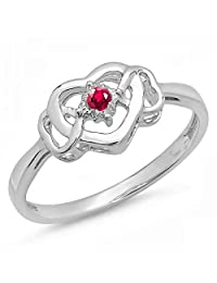 0.05 Carat (ctw) Sterling Silver Red Ruby Solitaire Promise Three Heart Infinity Love Engagement Ring