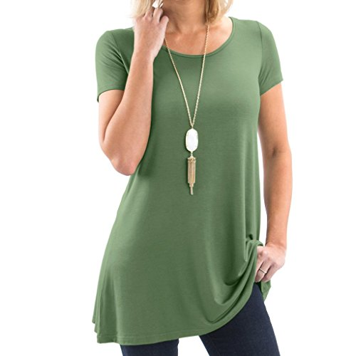 Bella Women's Short Sleeve Boatneck Tunic with Symmetrical Hem - Super Soft Loose Fit T-Shirt Tunic Top, Perfect Casual Blouse for Leggings & Jeans - Small - Army Green
