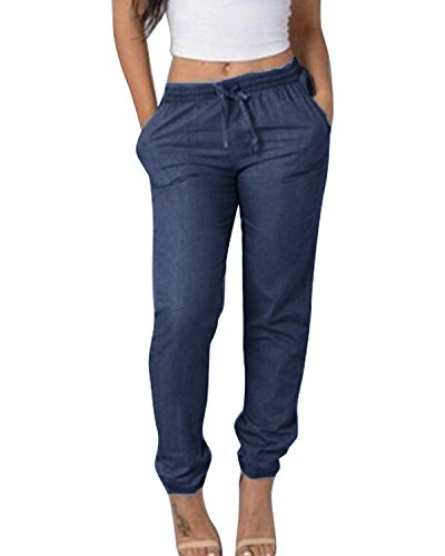 SUNNYME Women's Sweatpants Joggers Pants Drawstring Workout Active Trousers with Pockets Dark Blue M by SUNNYME (Image #1)