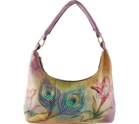 Anuschka Leather 371-PKF Premium Peacock Flower Hobo Bag by Anna by Anuschka