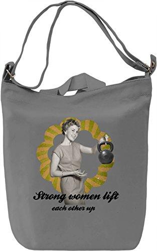 Strong women lift Borsa Giornaliera Canvas Canvas Day Bag| 100% Premium Cotton Canvas| DTG Printing|