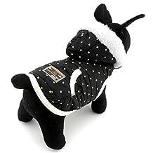 PEGASUS Dots Print Small Dog Vest Winter Coat Hooded Jacket Puppy Pet Cat Clothes Cashmere Black M